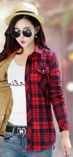 Women Winter Velvet Thick Keep Warm Plaid Cotton Blouse Long Sleeve Turn-down Collar Pocket 2018 Women Casual Tops Shirts Blusas-noashe