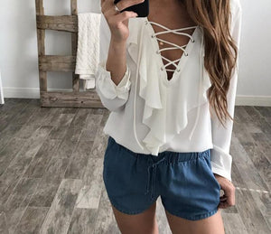 Celmia Womens Summer Blouse 2018 Chiffon Blouse Sexy Top Lace Up V Neck Ruffle Long Sleeve Shirt Casual Plus Size Blusa Feminina-noashe