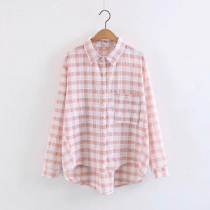 Oxdra 2018 Spring Summer New Women Fashion Plaid Print Blouse Long Sleeve Blouse Loose Casual Blouses Tops For Female-noashe