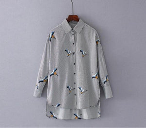 RZIV 2018 Autumn women shirt blouse casual striped shirt loose embroidered shirt top-noashe