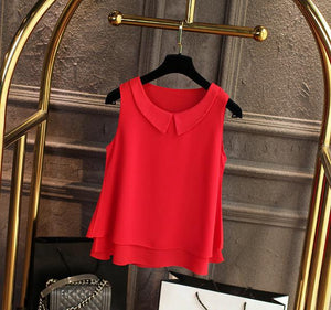 Women's blouses 2018 New sleeveless Peter pan Collar shirt For Women Chiffon Blouse Summer Casual Large size Female Tops-noashe