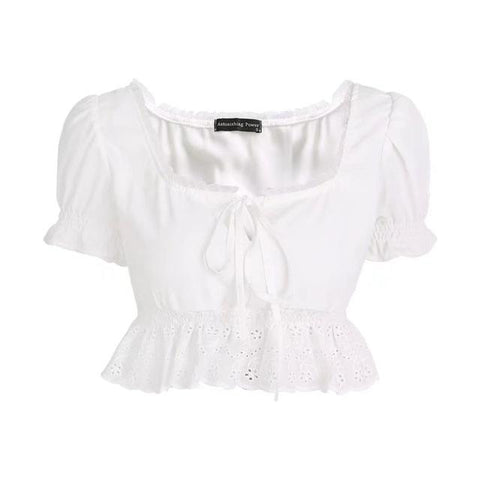 Summer women top and blouse Sexy puff sleeve white black Chiffon blouse ruffles shirt 2018 elegant Square Neck lace top blusa