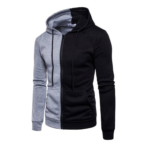 Fashion Men Slim Hoodie Hooded Sweatshirt Coat Jacket Winter Warm Outwear Causal Patchwork Color Block Pullover Hip Hop Hoodies-noashe