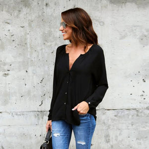 Spring 2018 Womens Solid Chiffon Blouses Simple Office Lady V-Neck Long Sleeve Casual Shirts Elegant Buttons Tops Plus Size #YL-noashe