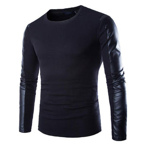 Men Leather Sweatshirt Black Long Sleeve Pullover PU Patchwork Leather Slim Fitness Compression Shirt Men Pullover Masculino-noashe