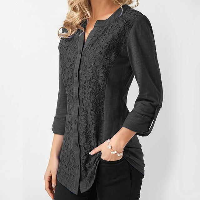 ZANZEA Blusas Feminina Elegant Women Blouse 2018 Autumn Long Sleeve Crochet Lace Tops Casual V-neck Shirt Work Blusa Plus Size-noashe