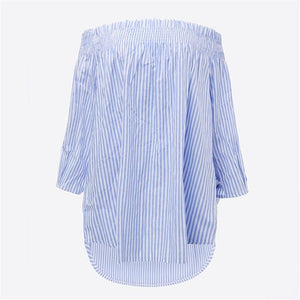 ZANZEA Womens Summer Blouses 2018 Spring Sexy Off Shoulder TopsSlash Neck Striped Bow Casual Blusa Plus Size Party Shirt Vestido-noashe
