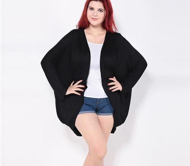 Kissmilk 2018 Plus Size Solid Open Front Cardigans Kimono Cover Ups Women Coats Tops Lightweight Sweaters Big Size 6XL 2 Colors-noashe