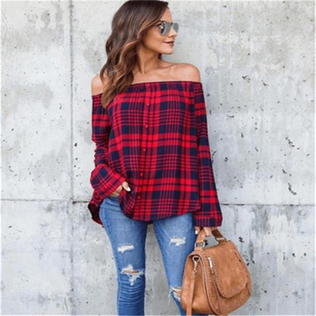MXTOPPY Red And Black Plaid Strapless Shirt Long Sleeve Slim Single-Breasted Shirts Striped Tops Off Shoulder Sexy Blouses-noashe