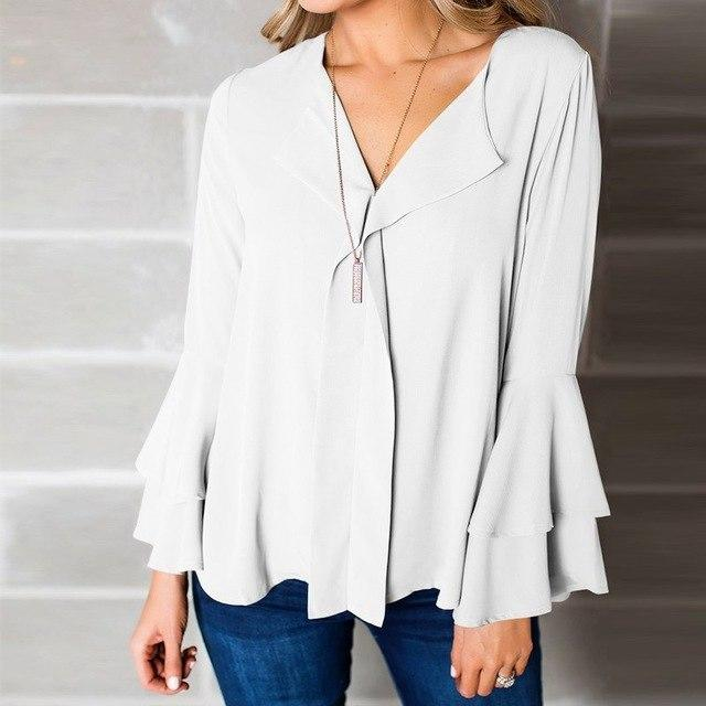 ZANZEA 2018 Summer Tops Plus Size Women Flare Long Sleeve Autumn Blouse Chic Elegant Work Office Shirt V Neck Blusas Femme 5XL-noashe