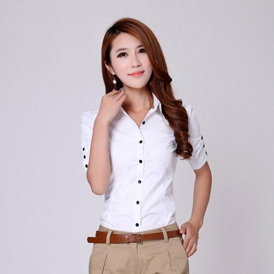 TLZC Korean Fashion Elegant OFFICE LADY V-Neck Blouse 2018 Slim Lady Shirt Size S-2XL Women White Career Tops-noashe