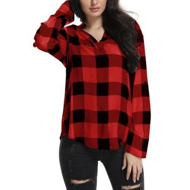 LASPERAL 2018 New Autumn Women Plaid Printed Shirt Long Sleeve Casual Loose Blusas Tops Sexy V Neck Chiffon Shirts Plus Size 5XL-noashe