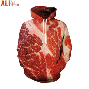Alisister Beef Meat 3d Hoodies Sweatshirt Funny Simulation Bacon Pullover 2018 Plus Size Brand Clothing Tracksuit Outwear Tops-noashe