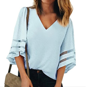 V Neck Flared Sleeves Mesh Patchwork Shirts Summer Plus Size Casual Loose Mesh Women Blouse Pink Street Womens Tops Blouses 5XL-noashe