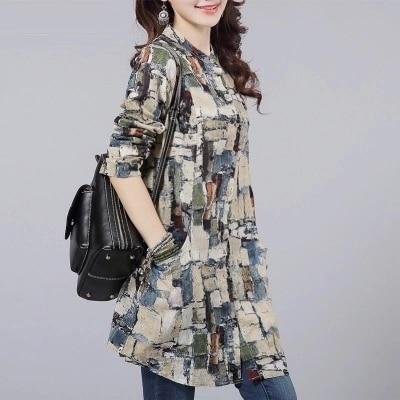 Fashion Female Cotton Blusas 2018 Autumn Kimono Long Floral Print Women Tops and Blouses Plus Size Cardigan Tunic Women's Shirts-noashe