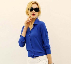 1PC Women Chiffon Blouse Long Sleeve Shirt Women Tops Office Lady Blusas Femininas Camisas Mujer Z231-noashe