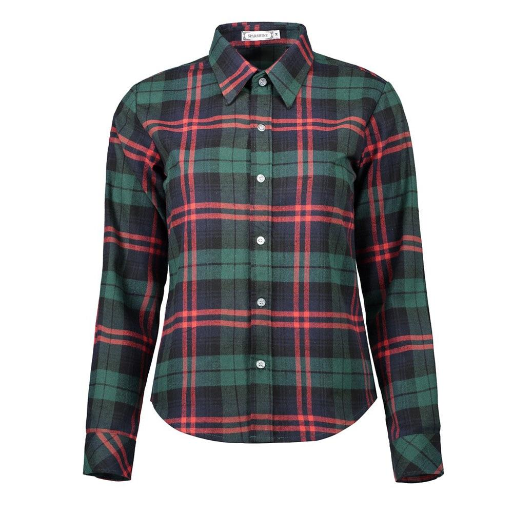 Women Plaid Blouse Shirt 2018 Autumn Large Sizes 5XL Cotton Green Long Sleeve Office Ladies Casual Straight Oversized Blouses-noashe