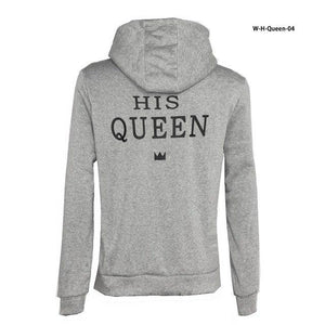 Top Quality COTTON love Couple women female Men Male anime streetwear Hoodie Sweatshirt KING QUEEN harajuku Hoody Jacket Coat-noashe