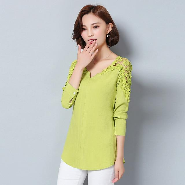 2017 New Arrival Women V-Neck Sexy Fashion Autumn Strapless Hollow Long Sleeve Women Elegant Linen Tops Plus Size Shirt 988G 25-noashe