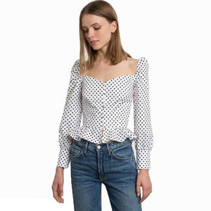 Hodoyi 2018 New Fashion Women Polka Dot White Cotton Shirts Slash neck Slim Ruffles Female Vitange Casual Sweet Blouses Lady-noashe
