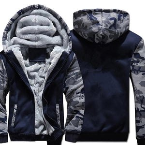 USA SIZE Super Warm Hoodies Sweatshirts Winter Thicken Fleece Camouflage Men's Jackets Zipper Hooded Coats Clothes New-noashe