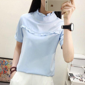 2018 New Hot Women Blouse White Shirt Top Femme Casual Stand Long Sleeve OL Work Sliod Blouses Women's Blusa Shirts-noashe