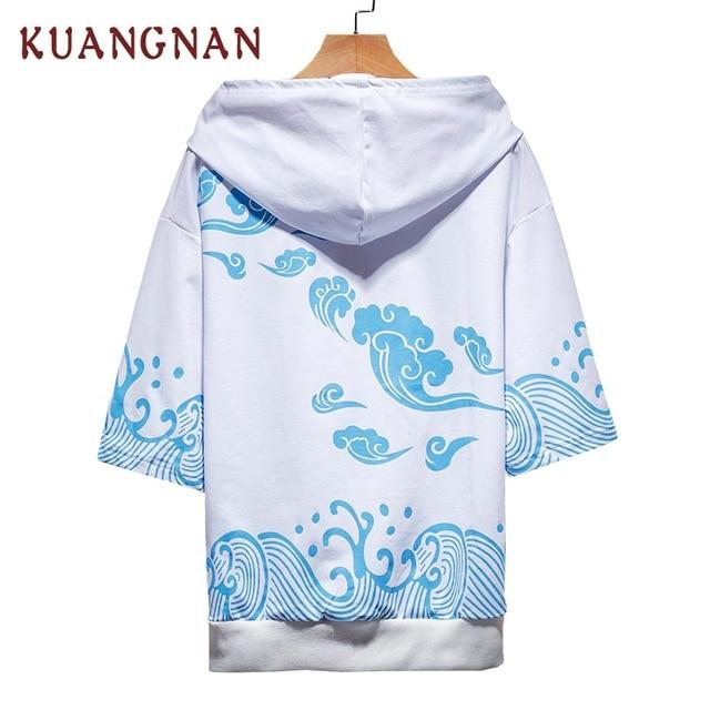 KUANGNAN Japanese Style Waves Hoodie Men Fashions Half Sleeve Streetwear Man Black Hoodie Men Street Wear Hoodies Men Clothes-noashe