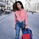 chic casual striped loose long blouse long sleeve high street turn down collar shirt female oversized tops-noashe