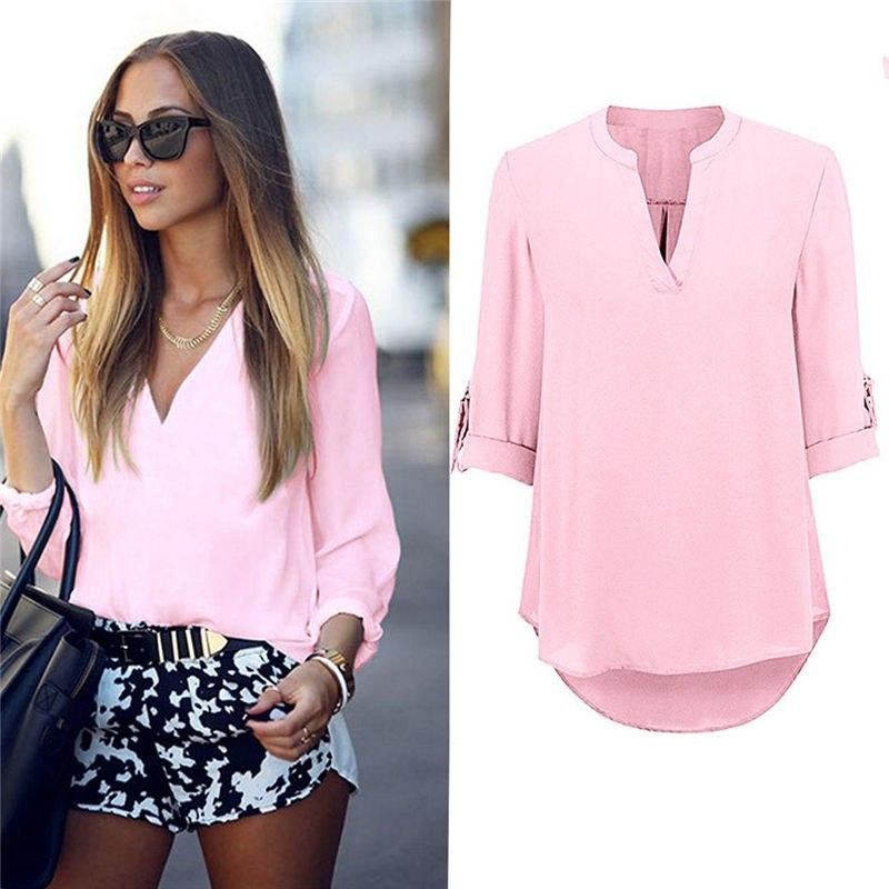 Women's Ladies Summer Loose Tops Three Quarter Sleeve Shirt Casual Blouse Fashion V-Neck Chiffon Blouses-noashe
