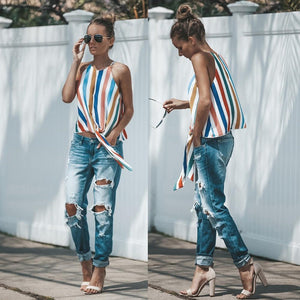 summer women vintage bow tie color striped shirt o-neck sleeveless zipper button blouse retro hollow out casual tops blusas-noashe