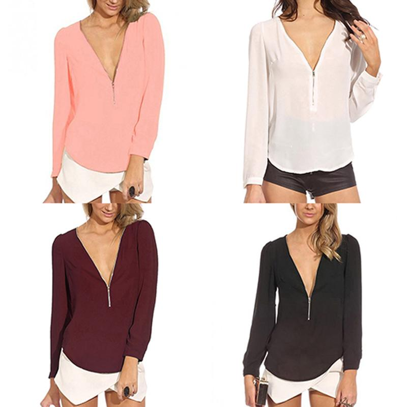 New Women's Fashion blouses ladies shirts girl Casual blouses tops spring V Neck Long Sleeve Zipper Sexy Tops Chiffon Blouses-noashe
