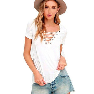 Fashion Womens Loose Pullover Blouse Shirt Short Sleeve v Neck Straps Cotton Tops Shirts Women Lady New Fashion Clothes-noashe
