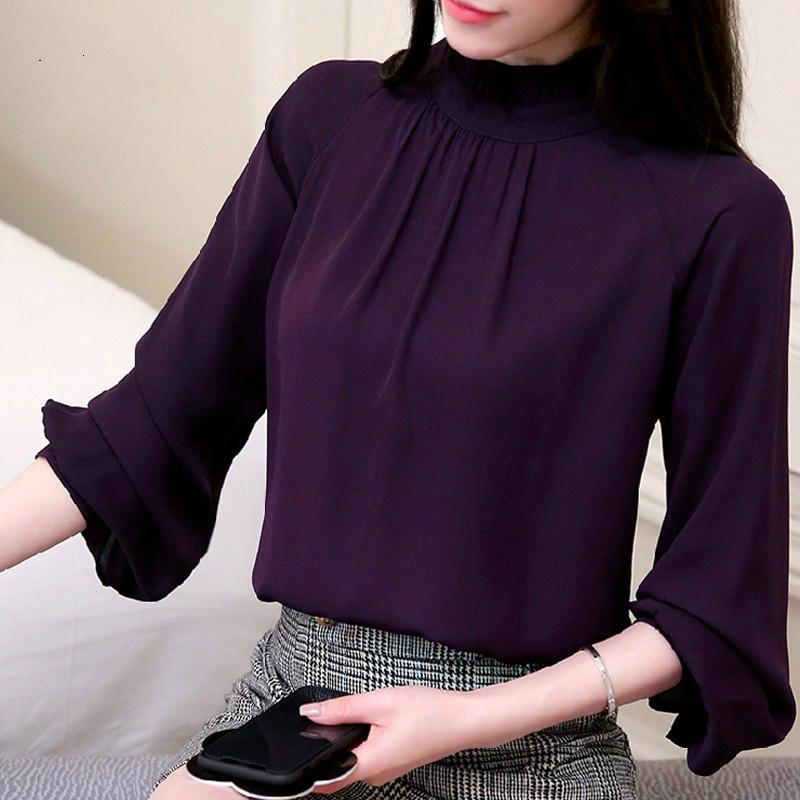 Women Blusas Feminina Elegant Chiffon Blouses 2018 Spring Casual Lantern Sleeve Female Shirt Fashion Purple Tops Ladies 93-noashe