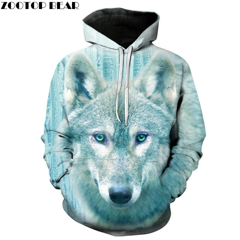 Winter Wolf Men Hoodies 3D Printed Hooded Tracksuits Autumn Printed Fashion Pullover Hooded Streetwear Male Hoodie Outwear-noashe