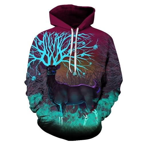Deer Printed 3D Hoodies Animal Men Women Sweatshirts Funny Cool Men Hoodie Fashion Pullover Casual Tracksuits Brand 6XL Coat-noashe