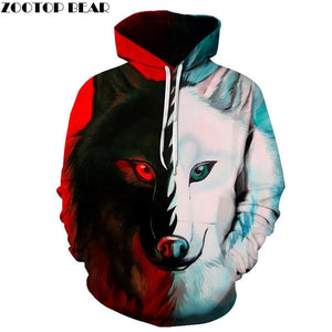 Different pupil Wolf Hoodies Sweatshirts Women Men 3D Printed Hoodies Fashion Pullover Male Tracksuit Pocket Hoodie Hooded Hot-noashe