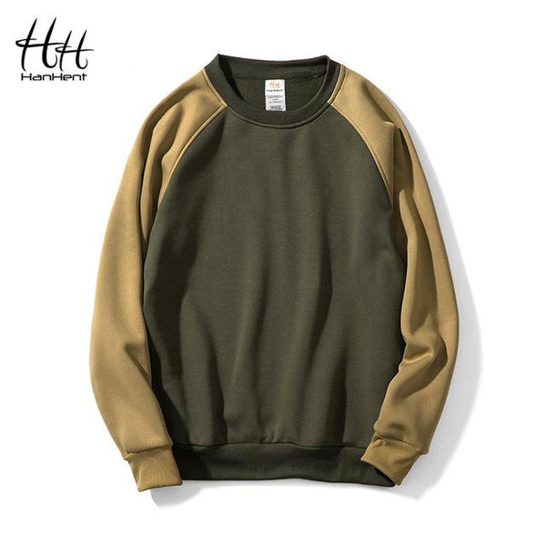 HanHent Patchwork Off Shoulder Crew Neck Sweatshirts Fleece Men 2018 Hoodies Pullover Fashion Streetwear Yellow hoodie Big Size-noashe