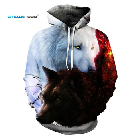 EHUANHOOD Hot Sale Brand Wolf 3D Hoodie Men Sweatshirt Men Women Hoodies Plus Size Pullover Novelty 3XL Casual Animal Coats