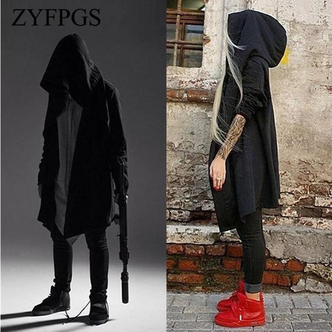 ZYFPGS Hip Hop 2018 New Autumn Men's Hooded Jacket With Black Gown Long Jacket Hoodies Cloak Men Streetwear Fashion Coats 712