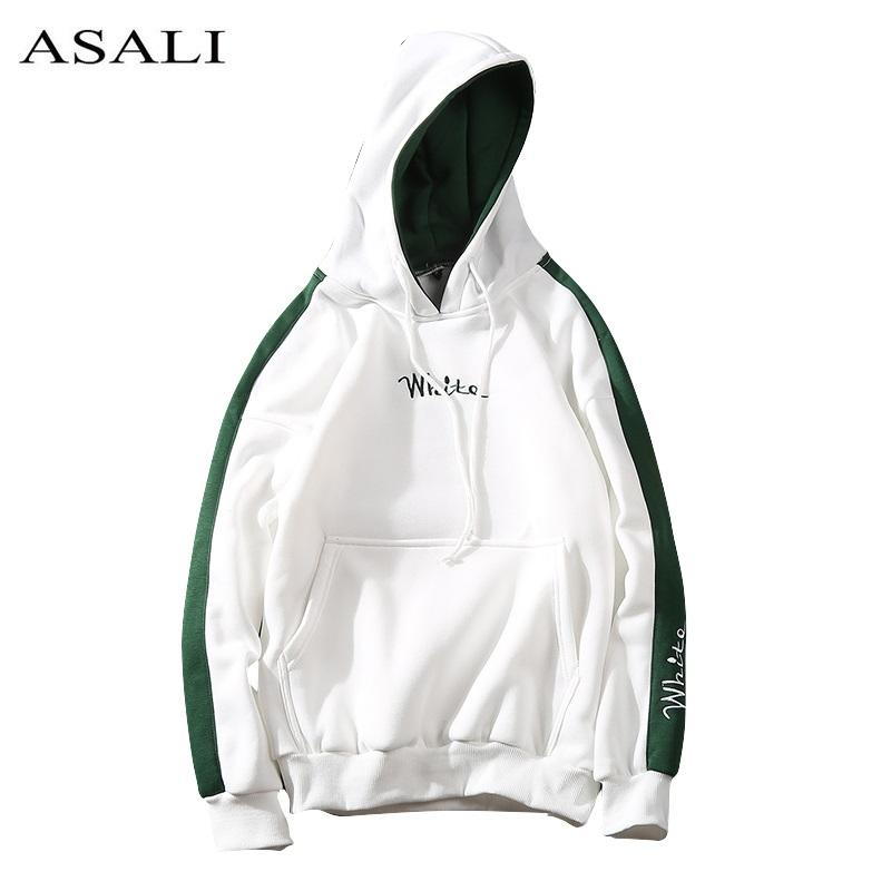 2018 Autumn White Hoodies With Hat Men Big Pocket Street Autumn Fashion Casual Hiphop Clothing Hoody Pullover Hoody Clothing-noashe