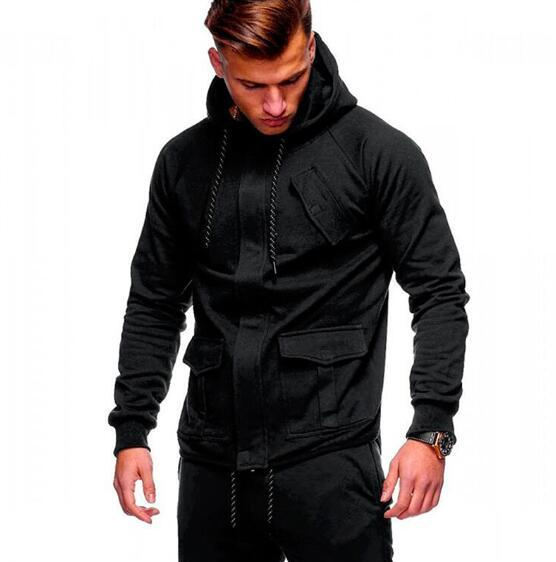 2018 Fashion Hoodies Men Sudaderas Hombre Hip Hop Mens Brand Solid hooded zipper Hoodie Cardigan Sweatshirt Slim Fit Men Hoody-noashe