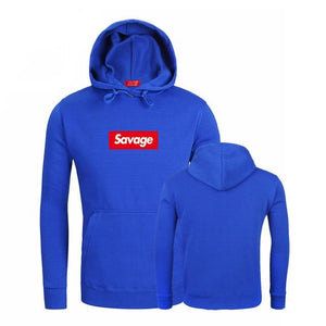 Savage Hoodies Funny letter Print Black Fleece Hoodies 2018 Winter Streetwear Style Hip Hop Casual Long sleeve Sweatshirts Tops-noashe