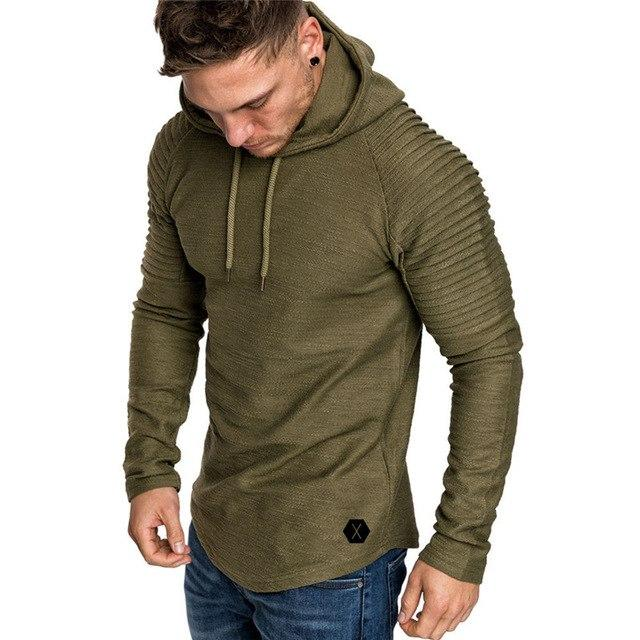 tankcorps Fashion Men's Autumn Winter Pleats Slim Fit Raglan Long Sleeve Hoodie Top Blouse Long Sleeve Hoodie Top Blouse XXXL-noashe