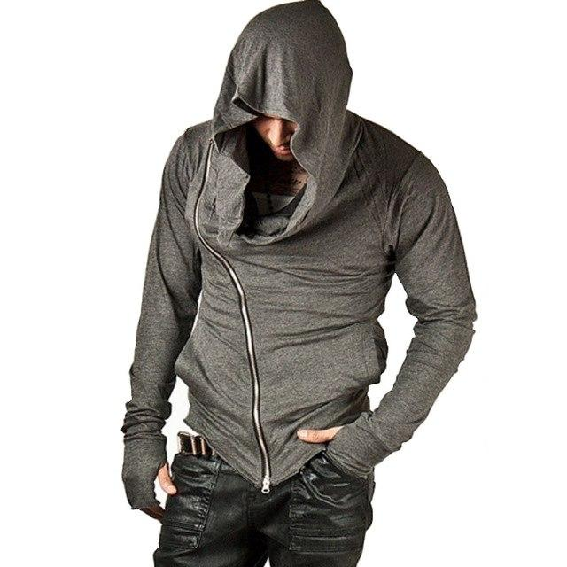 Top 2017 High Streetwear Male Hip Hop Fashion Side Zipper Design Hoody Hoodies Homme Cotton Black Sportswear Sweatshirts H07-noashe