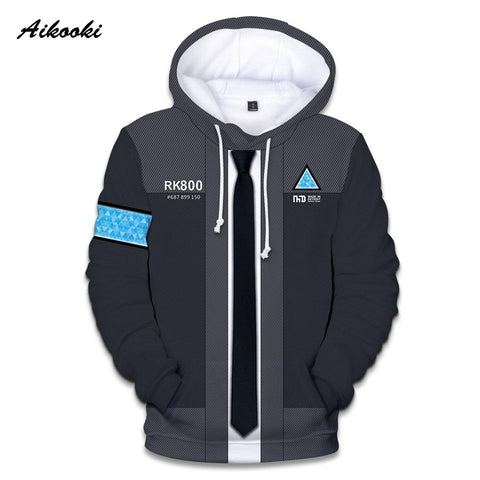 Aikooki Game Detroit: Become Human 3D Hoodies Men/Women Harajuku Spring Winter Boys/Girls 3D Print Detroit RK800 Funny Tops