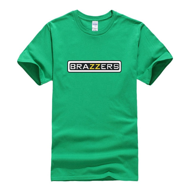 100% Cotton Men Hipster Brazzers Print cozy T shirt Men Funny Cotton Swag T-shirt Brand-Clothing Poleras Hombre Free shipping