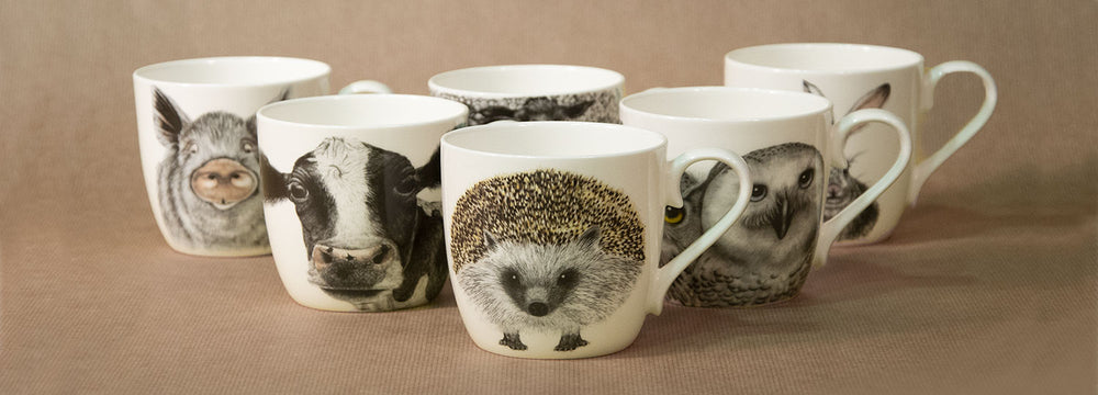 Fine bone china mugs with animal portraits by Charlotte Nicolin