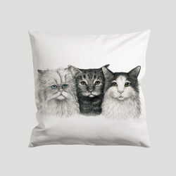 3 cats painted on a cushion cover - by Charlotte Nicolin