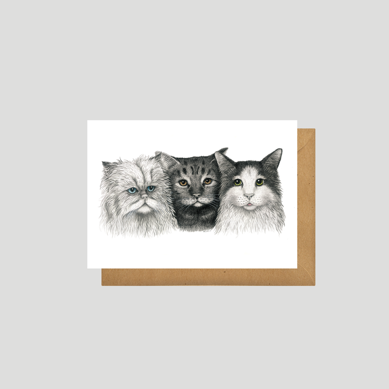 3 Cats - Art card