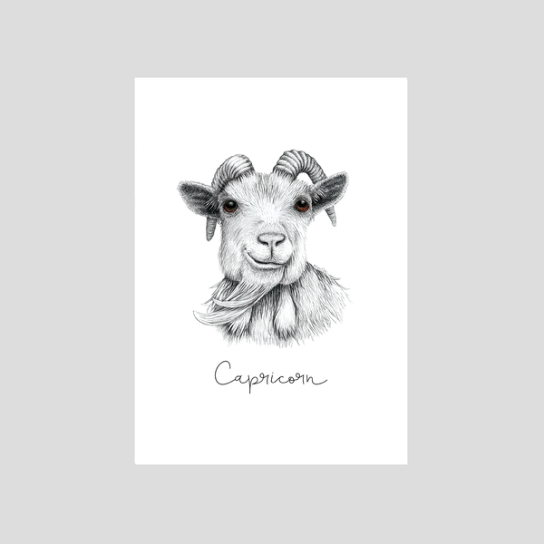 Zodiac sign Capricorn art print from the astrological series by Charlotte Nicolin